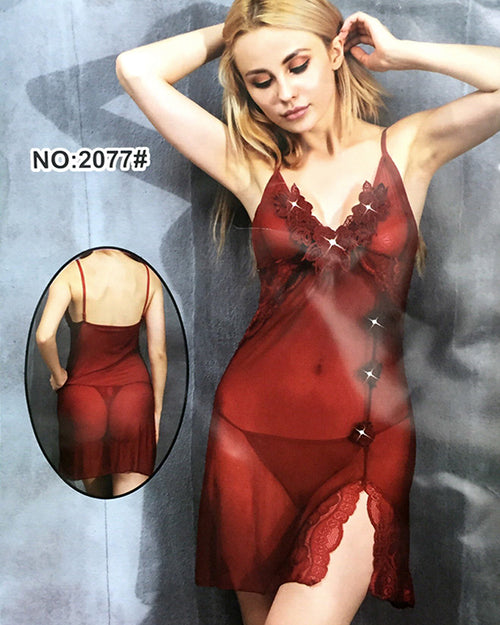 Women Sexy Lace Nighty Babydoll Sleepwear Nightwear Lingerie - 2077#