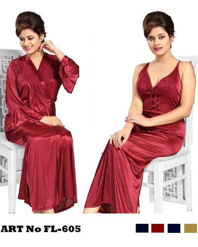 Maroon Nighty - FL-605 - Flourish 2 Piece Nightwear
