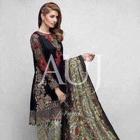 Auj Chiffon Embroidered Suit