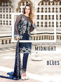 Maryam's Blue Midnight chiffon Suit