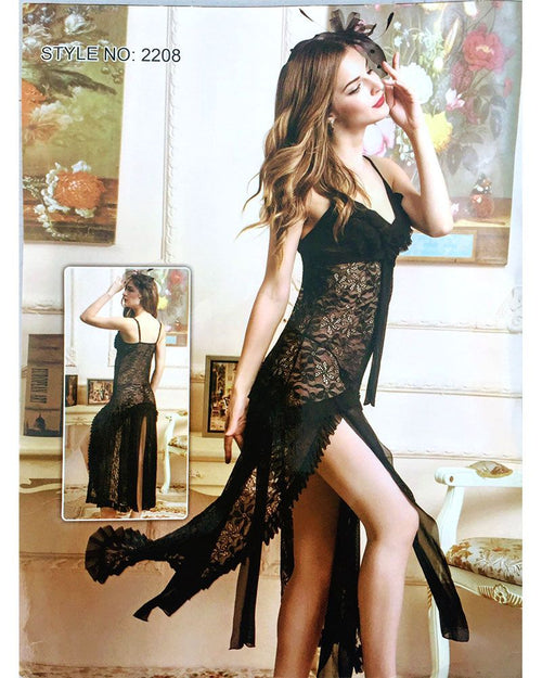 Stylish Long Net Lace Nighty - 2208