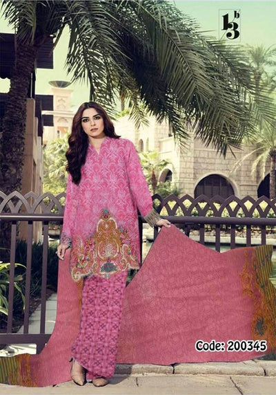 Gul Ahmed Collection Printed Front Fabric Lawn Chiffon Dupatta Trouser Cambric Cotton - Replica - Unstitched