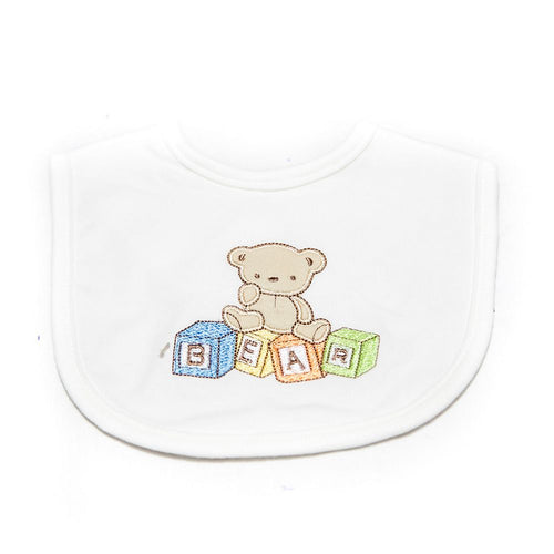 Baby Bibs & Burp Cloth – Feeding Saliva Towel – White Bear - Bibs & Burp Cloth - diKHAWA Online Shopping in Pakistan