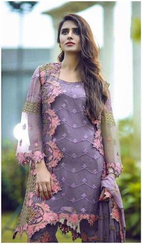 ANAYA CHIFFON EMBROIDERED SUIT - Replica - Unstitched