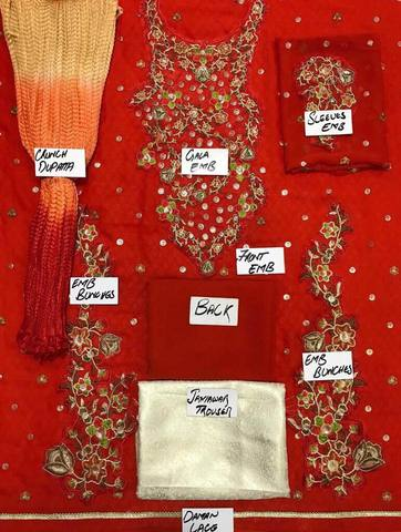 SHAISTA LODHI NET SUIT - Replica - Unstitched