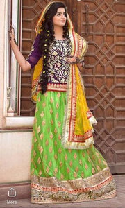 INDIAN BRIDAL CHIFFON SUIT - Replica - Unstitched
