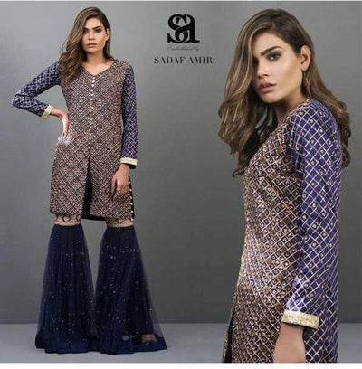 EMBELLISHED CHIFFON SUIT (Replica) (Unstitched)