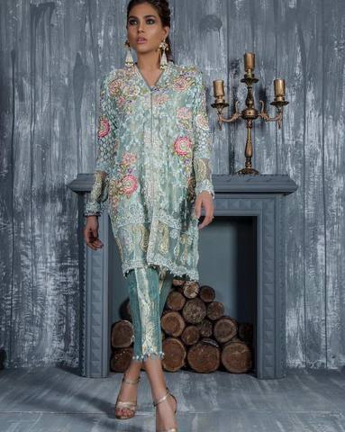 SANA AKHTAR CHIFFON SUIT - Replica - Unstitched