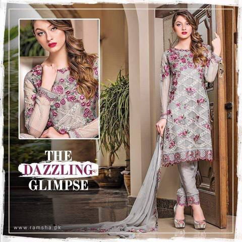 RAMSHA CHIFFON SUIT - Replica - Unstitched