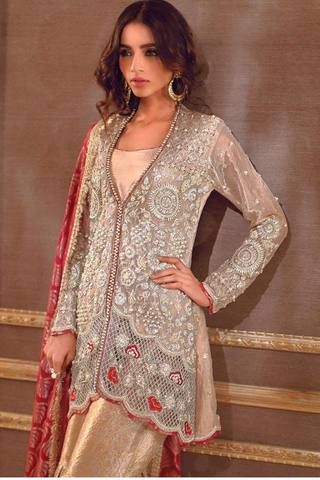 SANA ABBAS ORGANZA SUIT - Replica - Unstitched