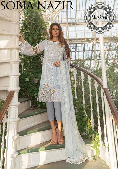 Sobia Nazir Chikankari Lawn Collection Net Dupatta Cambric Cotton Trouser - Replica - Unstitched