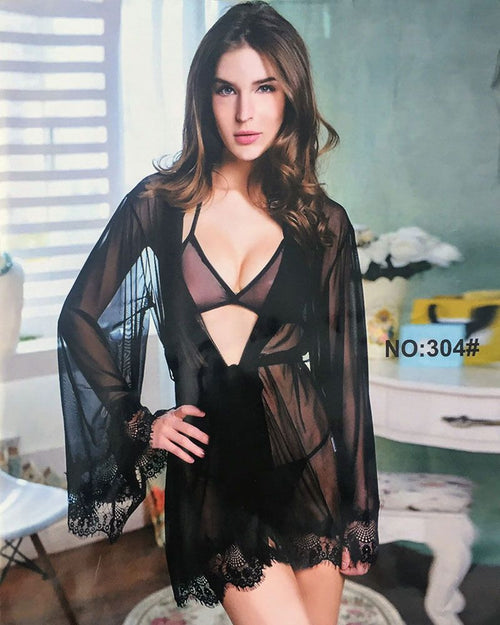 Black See Through Nighty & Bikini Set - 304