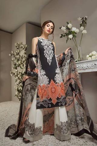 Anaya Lawn Embroidered Suit (Replica)(Unstitched)
