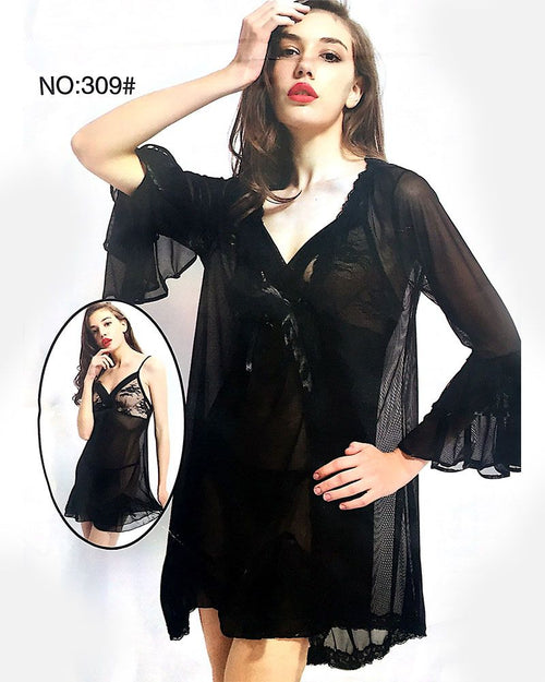 Black See Through Short Nighty With Robe - 309