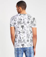 Pull & Bear Branded T-Shirt For Man -White Diagrame Print Half Sleeves Casual - Spain Brand
