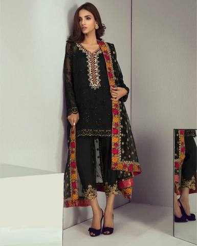 MINA HASAN CHIFFON SUIT (Replica) (Unstitched)