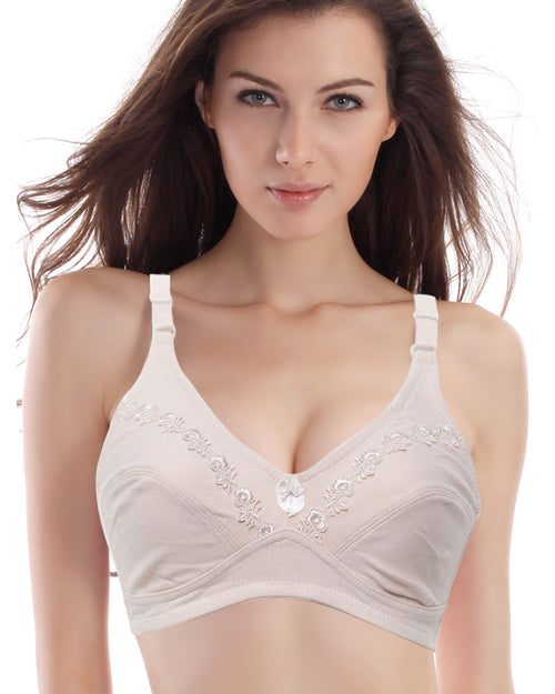 Skin Embroidered Bra - Cotton Bra - 603 - Non Padded - Thailand Bra