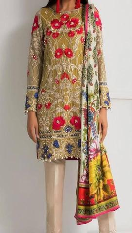 NOMI ANSARI CHIFFON SUIT  (Replica) (Unstitched)