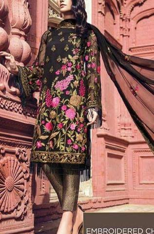 AL KARAM CHIFFON SUIT  (Replica) (Unstitched)