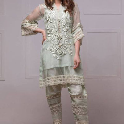 Annus Abrar net embroidered suit (Replica)(Unstitched)