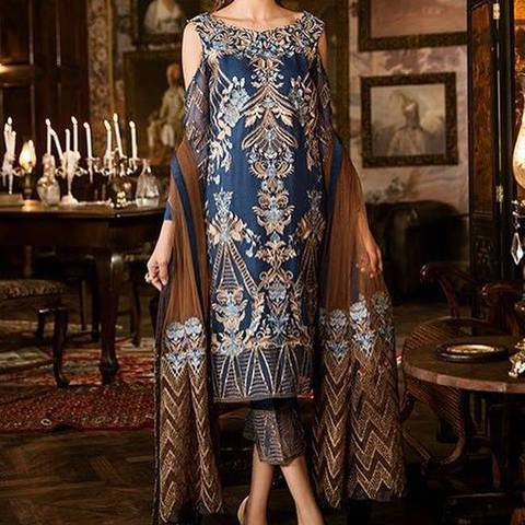 Iznik handwork & Embroidery Chiffon Suit  (Replica) (Unstitched)