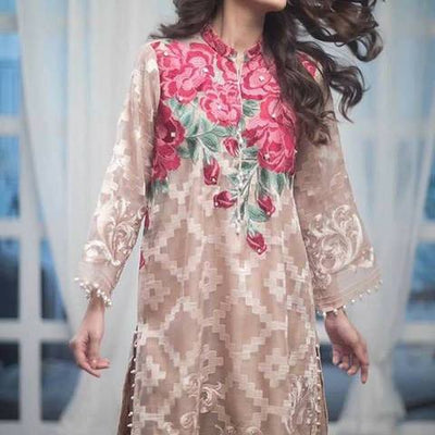 Agha Noor Net Embroidered Suit (Replica)(Unstitched)