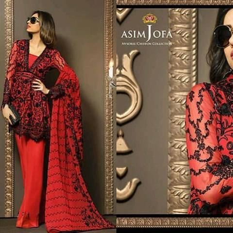 ASIM JOFA CHIFFON SUIT (Replica) (Unstitched)