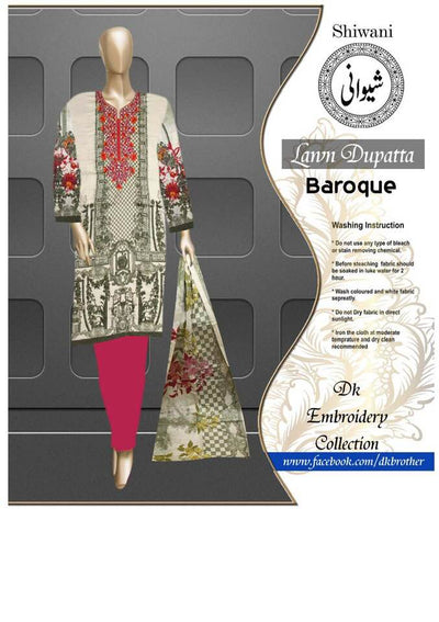 Baroque Neck Embroidered Printed Lawn Front - Replica - Unstitched