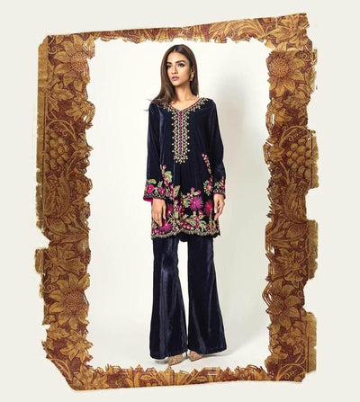 Mina Hasan Velvet & Net Dresses - Embroidered Net Dupatta - Replica - Unstitched