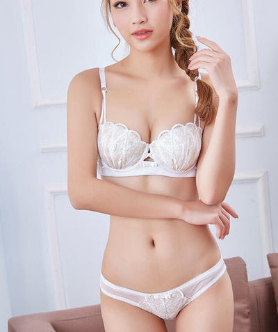 Bridal Bra Panty Set - Underwired White Single Padded Bra