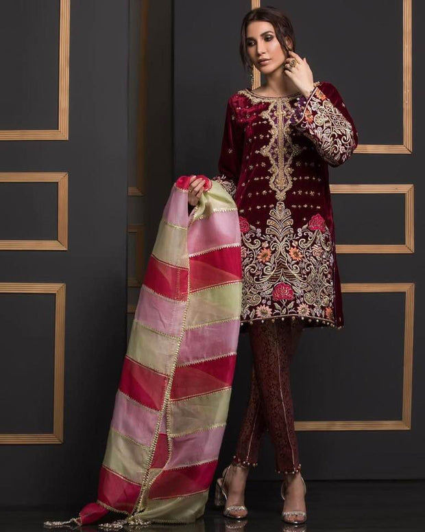 Annus Abrar Velvet & Net Dresses - Embroidered Net Dupatta - Replica - Unstitched