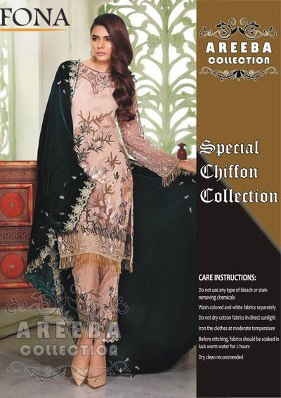 Sifona Chiffon Dresses - Embroidered Velvet Dupatta - Replica - Unstitched