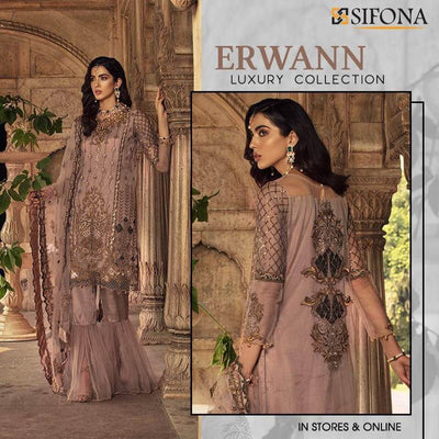 Sifona Luxury Net Dresses - Embroidered Net Dupatta - Replica - Unstitched