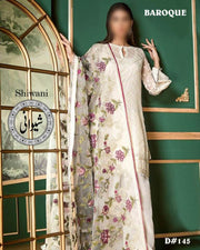 Baroque Cotton Heavy Embroidered - Embroidered Chiffon Dupatta - Replica - Unstitched