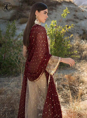 Zainab Chottani Net Dresses - Embroidered Chiffon Dupatta - Replica - Unstitched