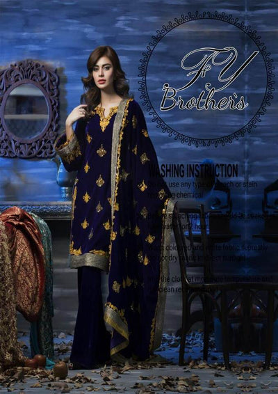 Amna Aqeel Velvet Dresses - Embroidered Velvet Dupatta - Replica - Unstitched