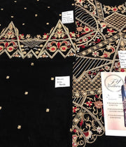 Riffat & Sana Velvet Dresses - Embroidered Net Dupatta - Replica - Unstitched