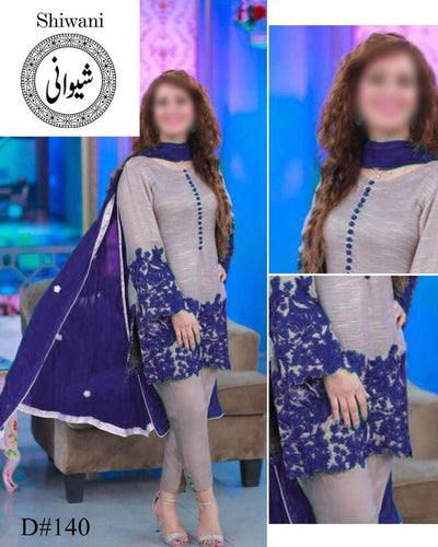 Walima Dresses - Embroidered Chiffon Dupatta - Replica - Unstitched