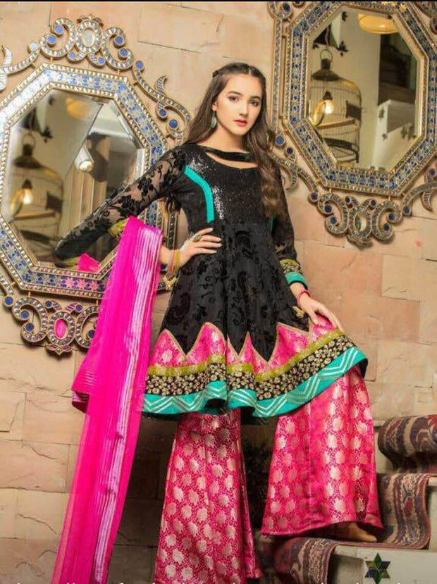 Maria B Chiffon Dresses - Embroidered Chiffon Dupatta - Replica - Unstitched