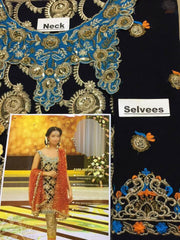 Panjwani Chiffon Dresses - Embroidered Net Dupatta - Replica - Unstitched
