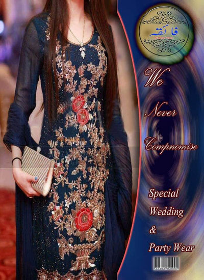 Aliza Waqar Chiffon Dresses - Embroidered Chiffon Dupatta - Replica - Unstitched