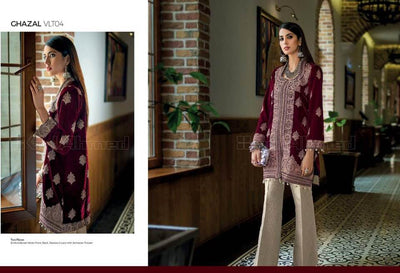 Gul Ahmed Velvet Dresses - Embroidered Net Dupatta - Replica - Unstitched