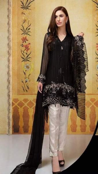 Maria B Chiffon Dresses - Embroidered Net Dupatta - Replica - Unstitched