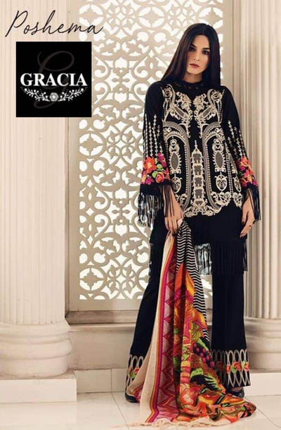 Charizma Khaddar Dresses - Embroidered Wool Shawl Dupatta - Replica - Unstitched