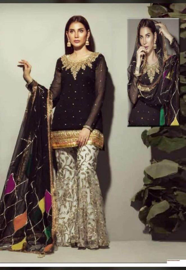 Neelam Munir Chiffon Dresses - Embroidered Chiffon Dupatta - Replica - Unstitched