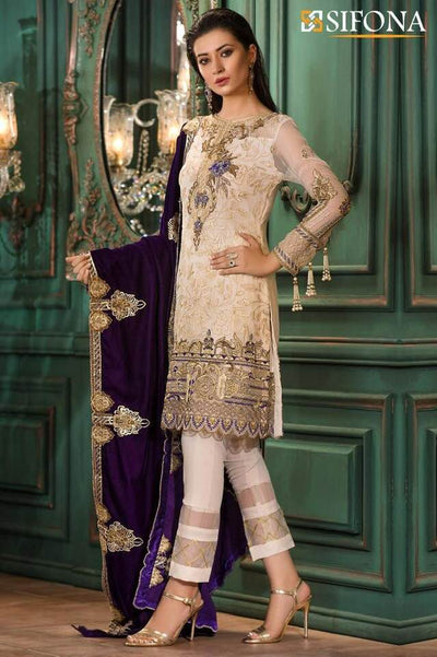 Sifona Net Dresses - Embroidered Chiffon Dupatta - Replica - Unstitched