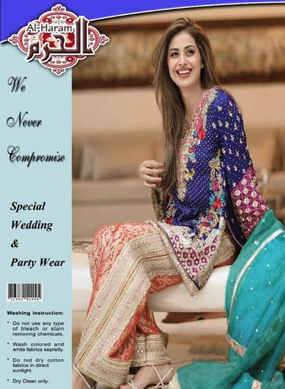 Al Haram Chiffon Dresses - Embroidered Chiffon Dupatta - Replica - Unstitched