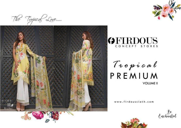 Firdous Lawn Dresses - Embroidered Lawn Dupatta - Replica - Unstitched