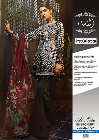 Maria B Silk Dresses - Embroidered Silk Dupatta - Replica - Unstitched