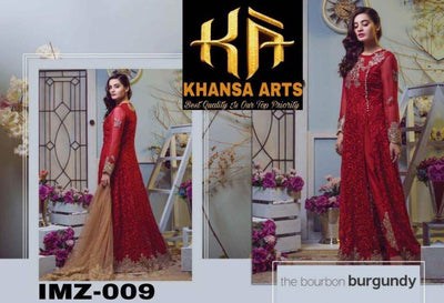 Imrozia Chiffon Dresses - Embroidered Net Dupatta - Replica - Unstitched